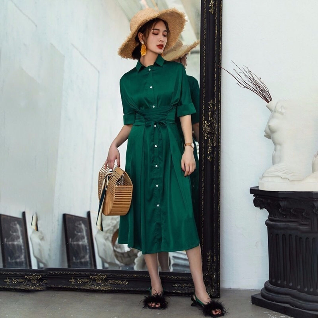 TOSCA LACE UP SHIRT DRESS