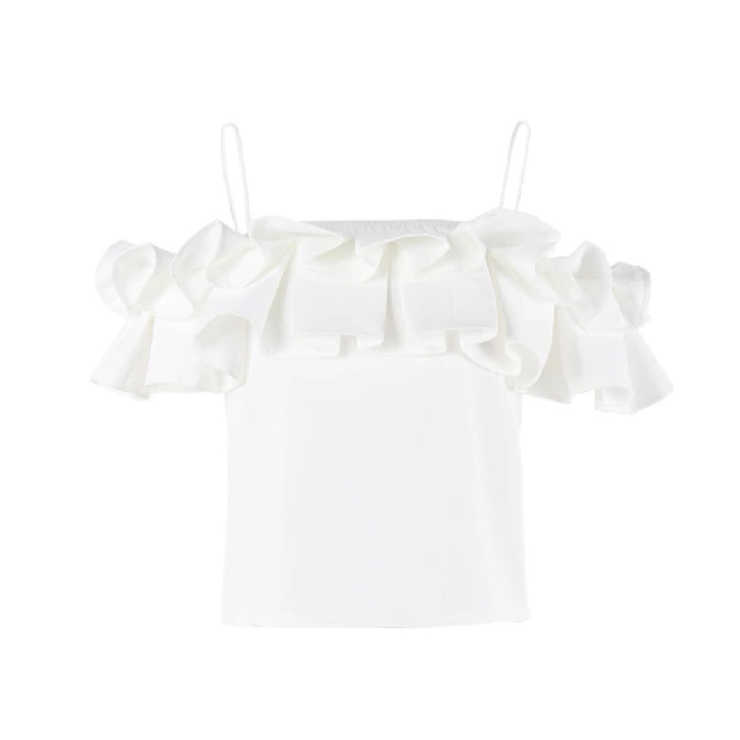 SOLANA RUFFLE TOP (WHITE)