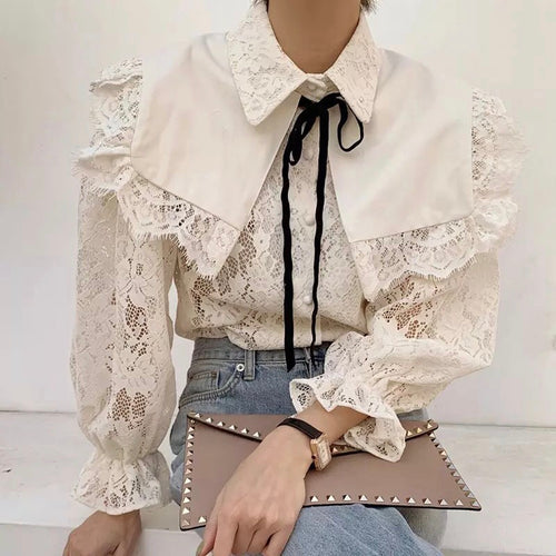 TURENNE LACE TOP WITH COLLAR