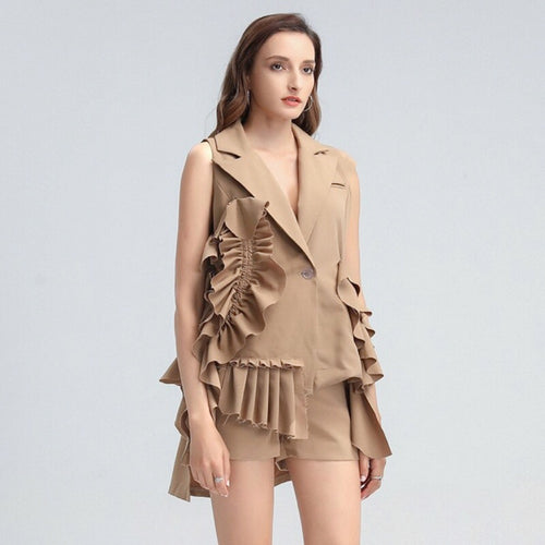 MADDEN RUFFLED BLAZER AND SHORTS SET