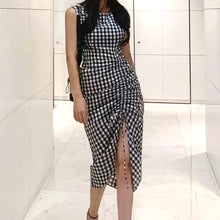 CARCES GINGHAM RUCHED DRESS