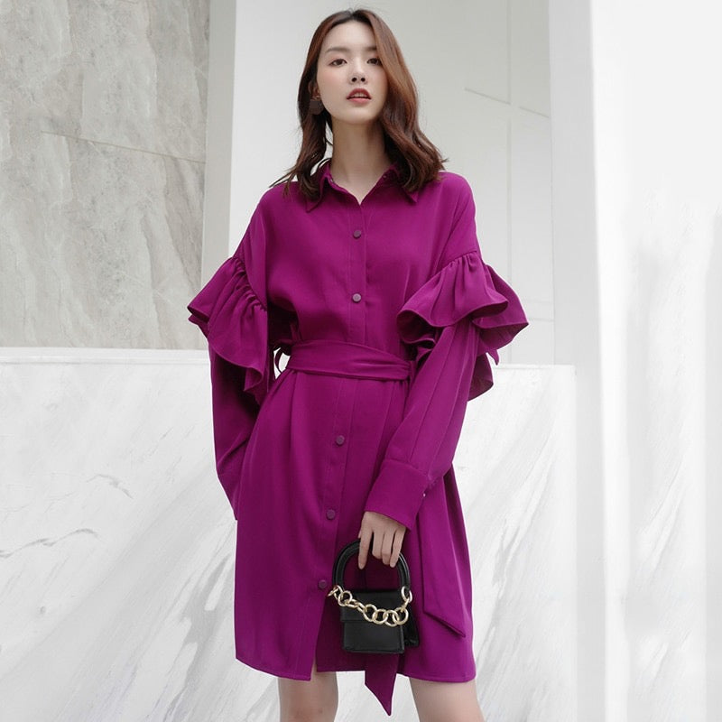 MIRA RUFFLE SLEEVE SHIRT DRESS