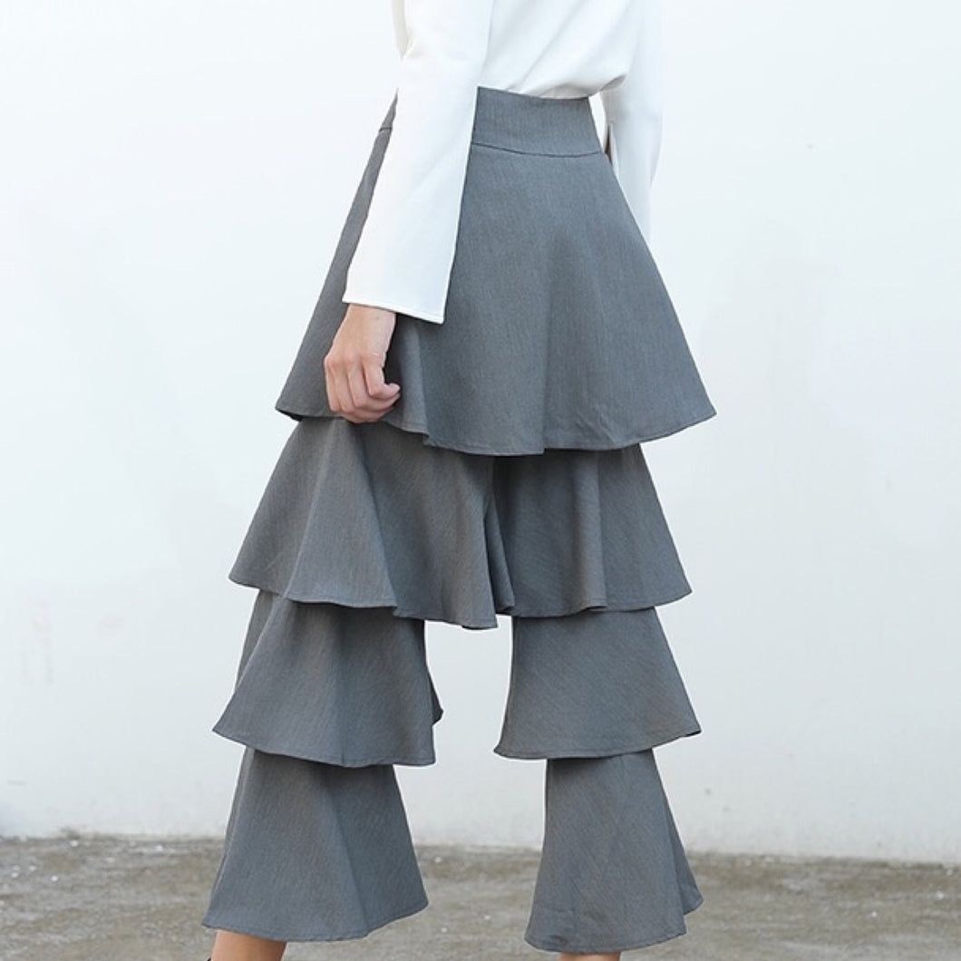 BEJA GRAY TIERED RUFFLE PANTS