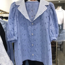 VILLETTE EYELET WIDE COLLAR TOP