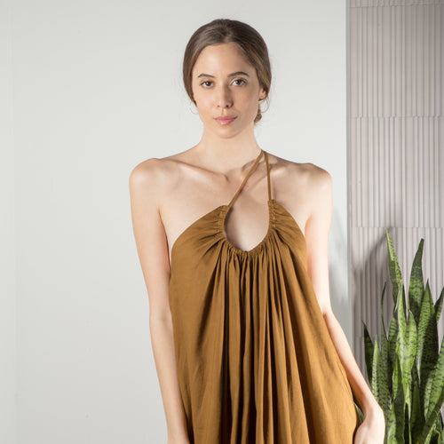 VICTORIA DRESS (COPPER BROWN)