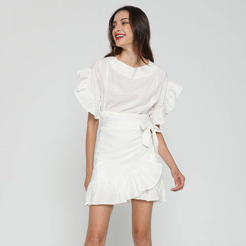 TAVIRA LINEN RUFFLE DRESS