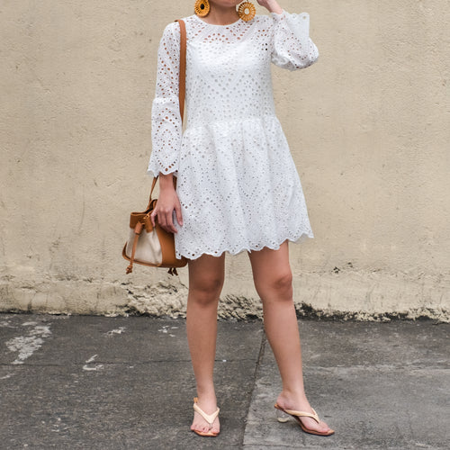 CAYUCOS EYELET MINI DRESS