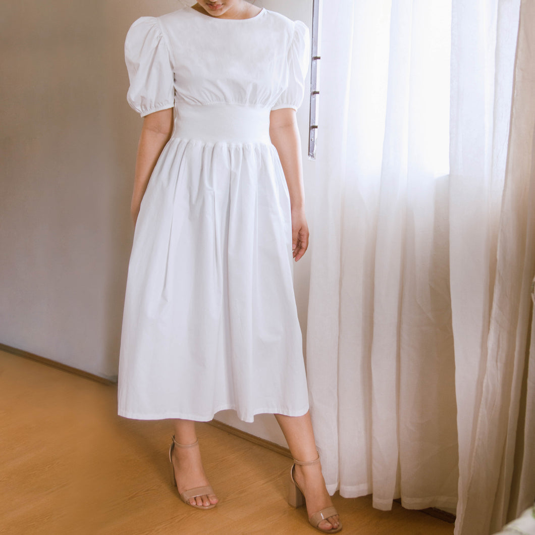 GARONNE PUFF SLEEVE MIDI DRESS