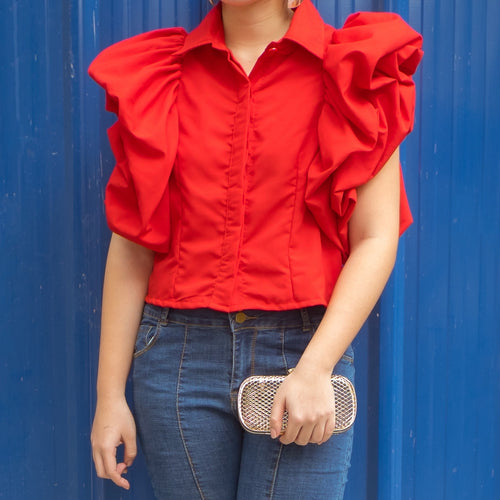 READE PUFF SLEEVED TOP (RED)