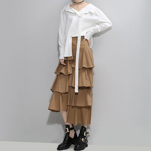 YALA TIERED RUFFLE SKIRT (Khaki)