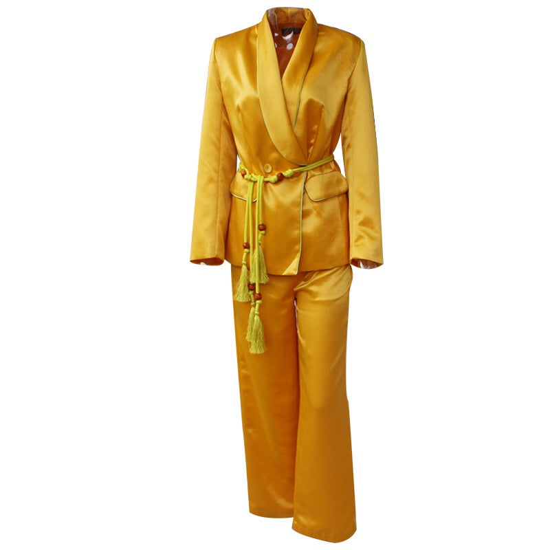 PIPER  BLAZER AND PANTS SET (YELLOW)