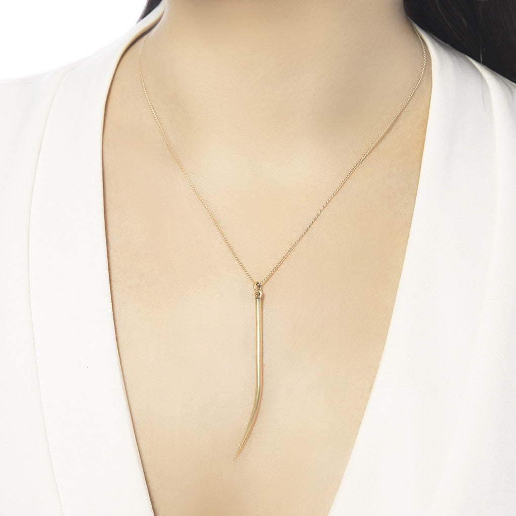 Lanza Quill Gold Pendant Necklace