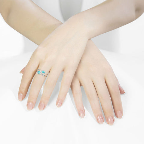 Azul Silver and Turquoise Duo Stacking Ring's