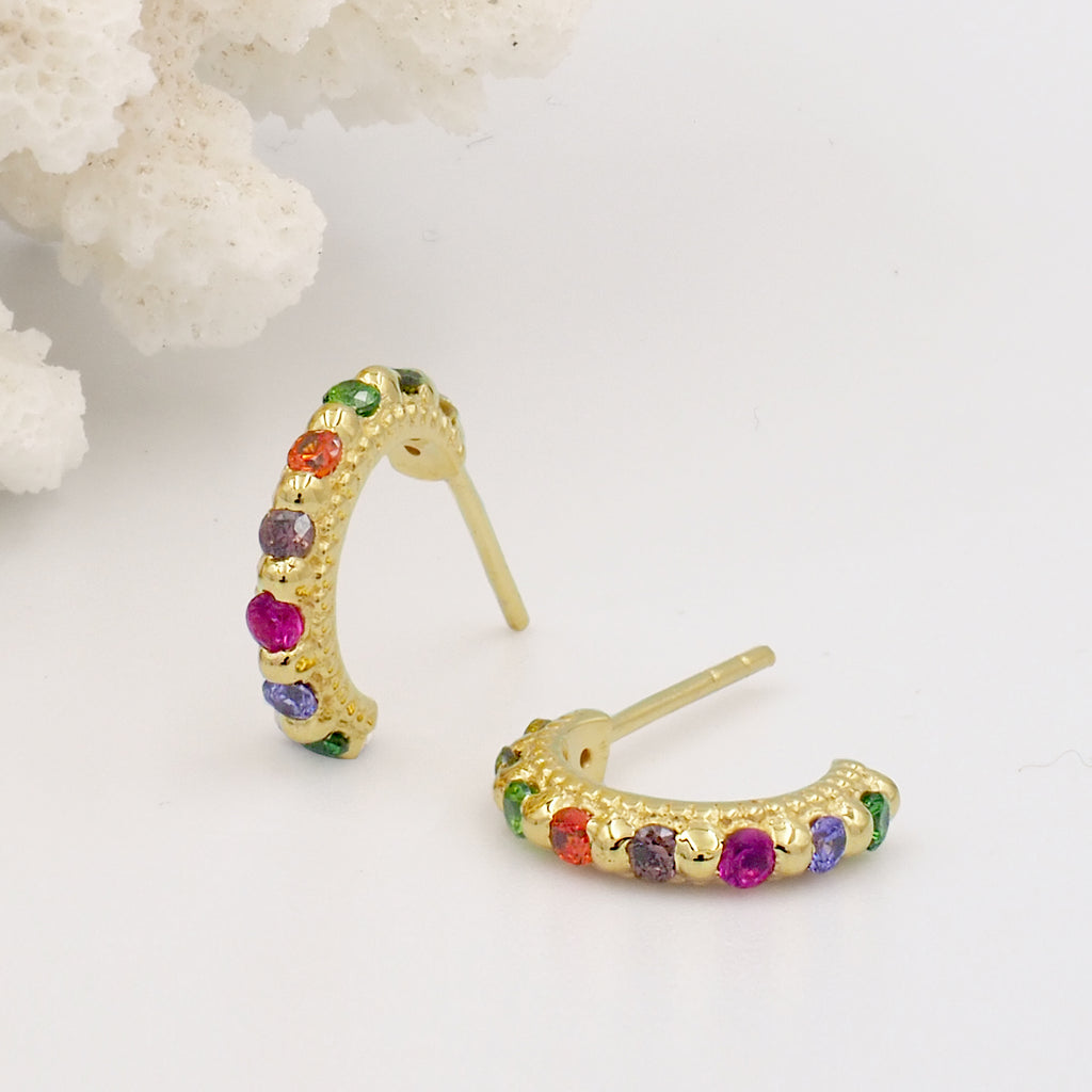 Tiny, Mini 18k Gold Plated & Rainbow Gemstone Molten Huggie Hoop Earrings - Size Small 5mm