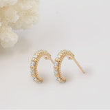 Tiny, Mini 18k Rose Gold Plated & White Topaz Molten 5mm Huggie Hoop Earrings