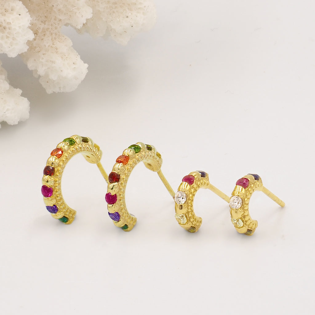 Shanti Gold & Rainbow Gemstone Medium Huggie Hoops