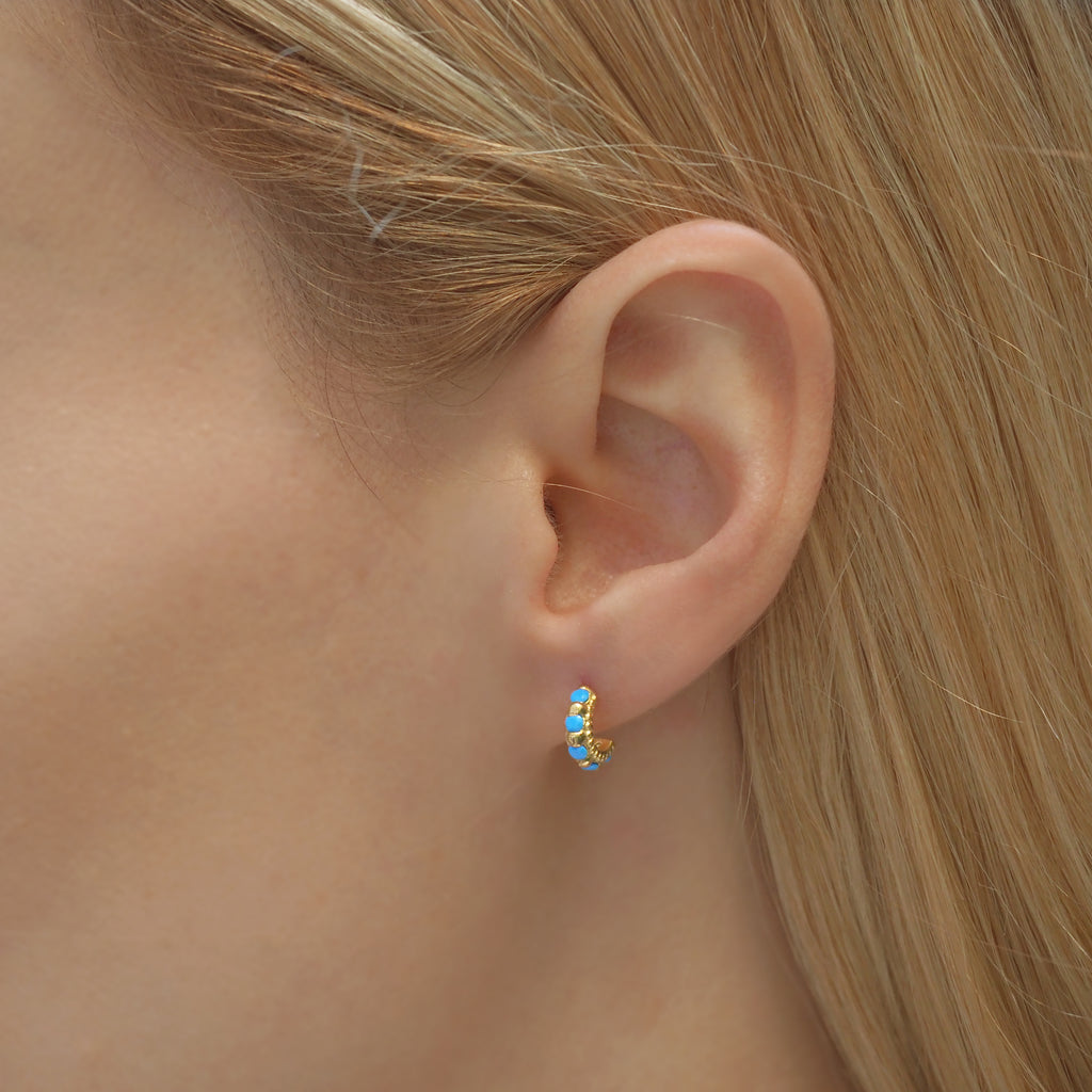Shanti Gold & Turquoise Small Huggie Hoops