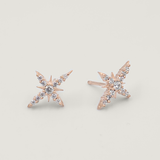 Taara 18 Carat Gold and White Topaz Star Stud Earrings