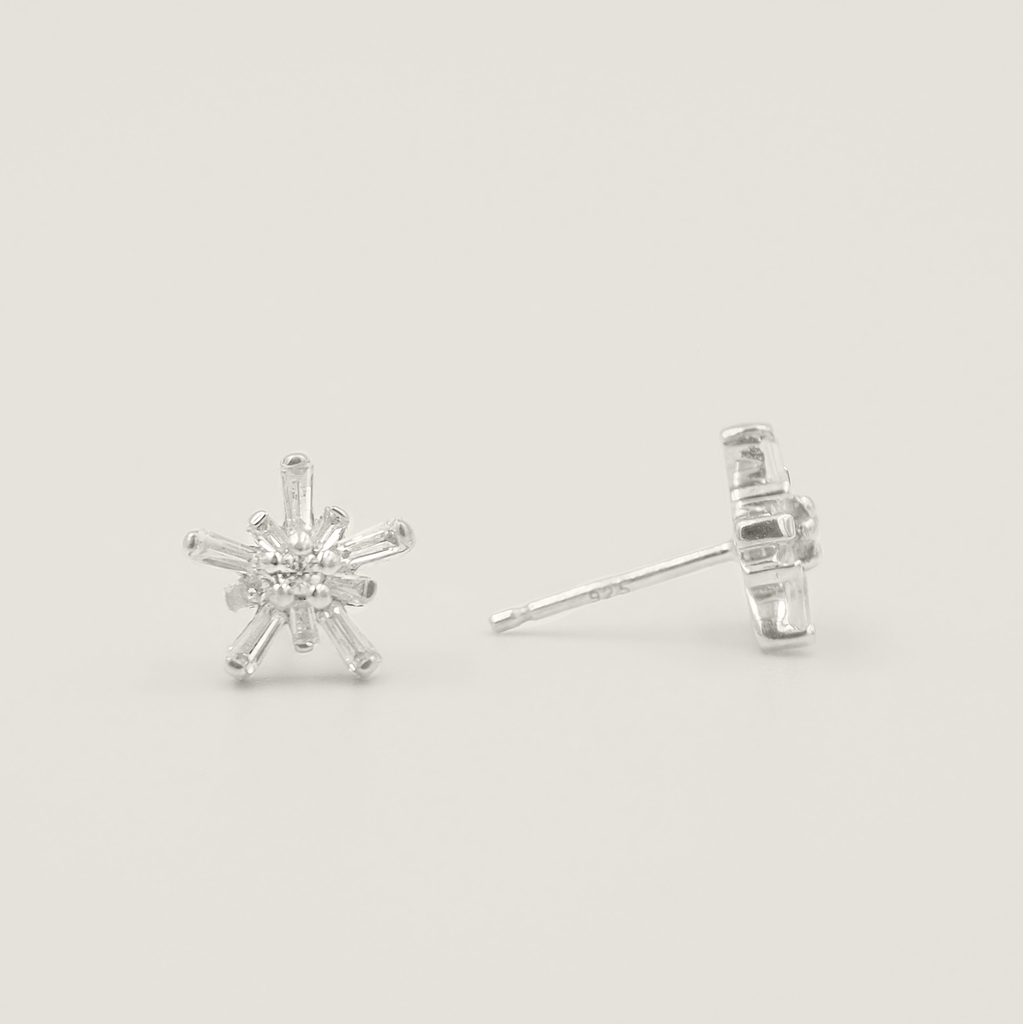 Hima 925 Sterling Silver, White Topaz Snowflake Stud Earrings