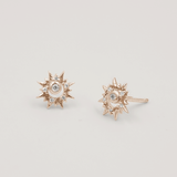 Surya 12 Carat Gold and White Topaz Sun Stud Earrings