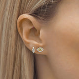 Ivi 925 Sterling Silver, Gold and Labradorite Evil Eye Stud Earrings