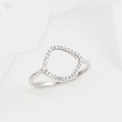 Aro Infinity White Topaz and Silver Ring