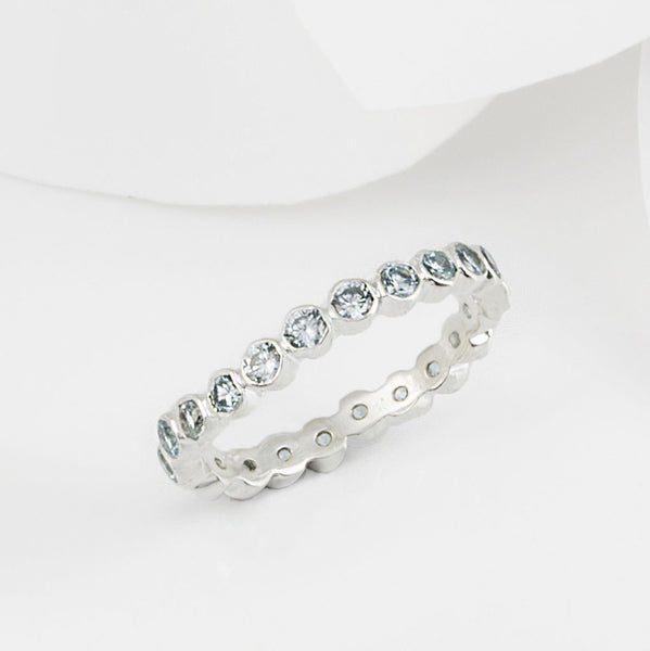 Oscura Blue Topaz and Silver Stacking Eternity Ring