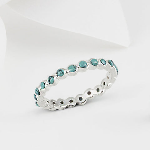 Oscura Turquoise and Silver Stacking Eternity Ring