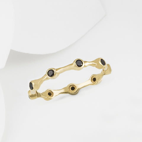Aura Black Onyx and Gold Eternity Ring Band