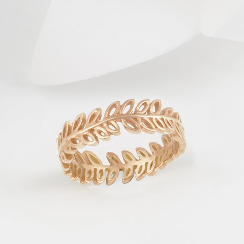 Flor Rose Gold Olive Leaf Ring