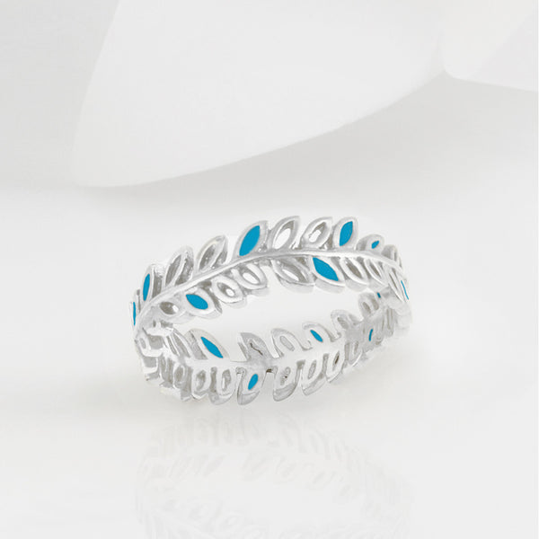 Flor Turquoise and Silver Olive Leaf Ring