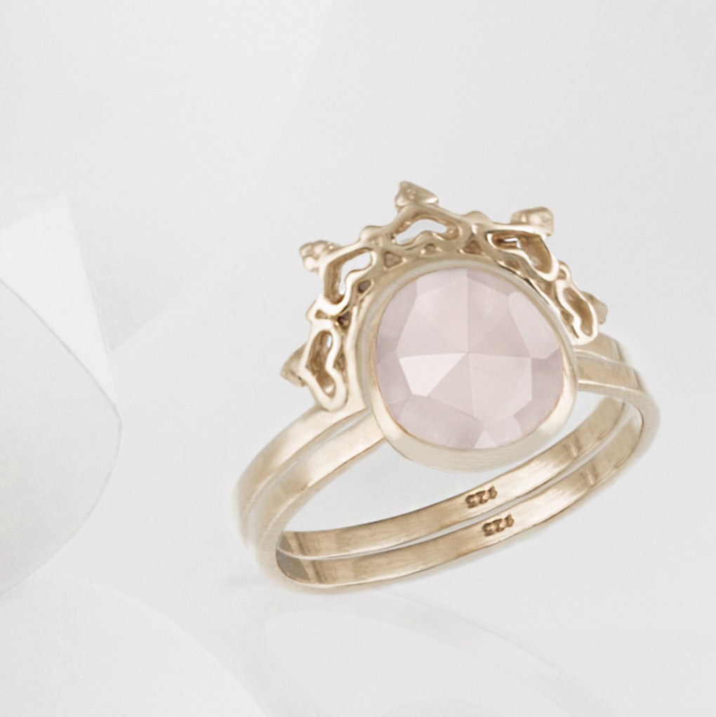 Austra Rose Gold and Rose Quartz Ring with Halo Nesting Band