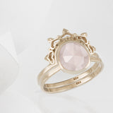 Austra Rose Gold & Rose Quartz Ring with Halo Nesting Band
