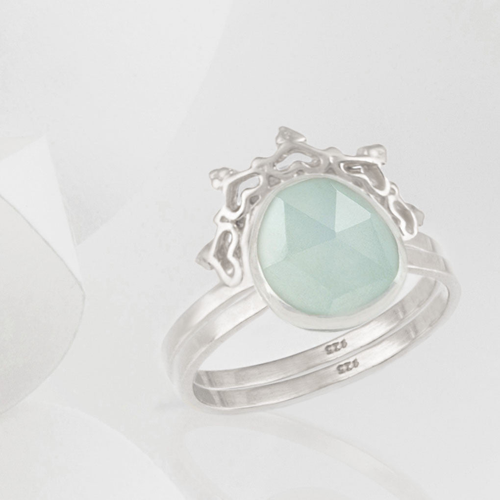 Austra Silver and Aquamarine Ring with Halo Nesting Band
