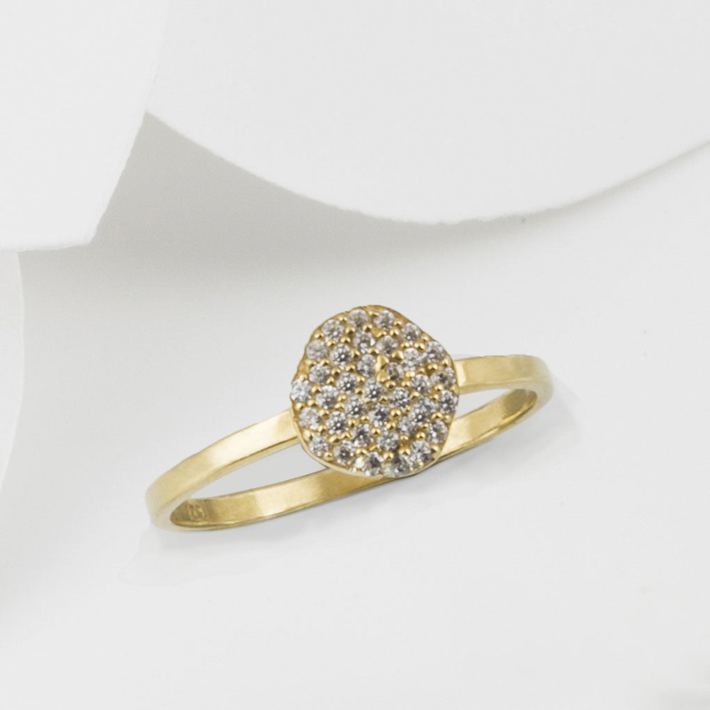 Cielo Gold Pave Organic White Topaz Ring