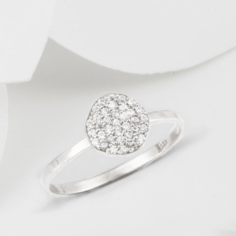 Cielo Silver Pave Organic White Topaz Ring