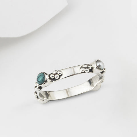 Plata Silver Turquoise and Pearl Bohemian Stacking Ring