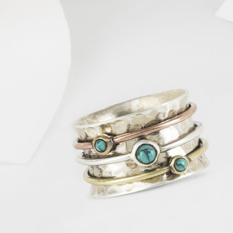 Eris Silver and Gold Turquoise Spinning Ring
