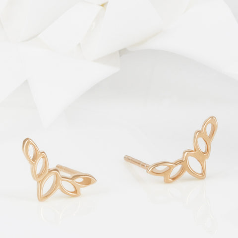Flor Rose Gold Olive Leaf Stud Earrings