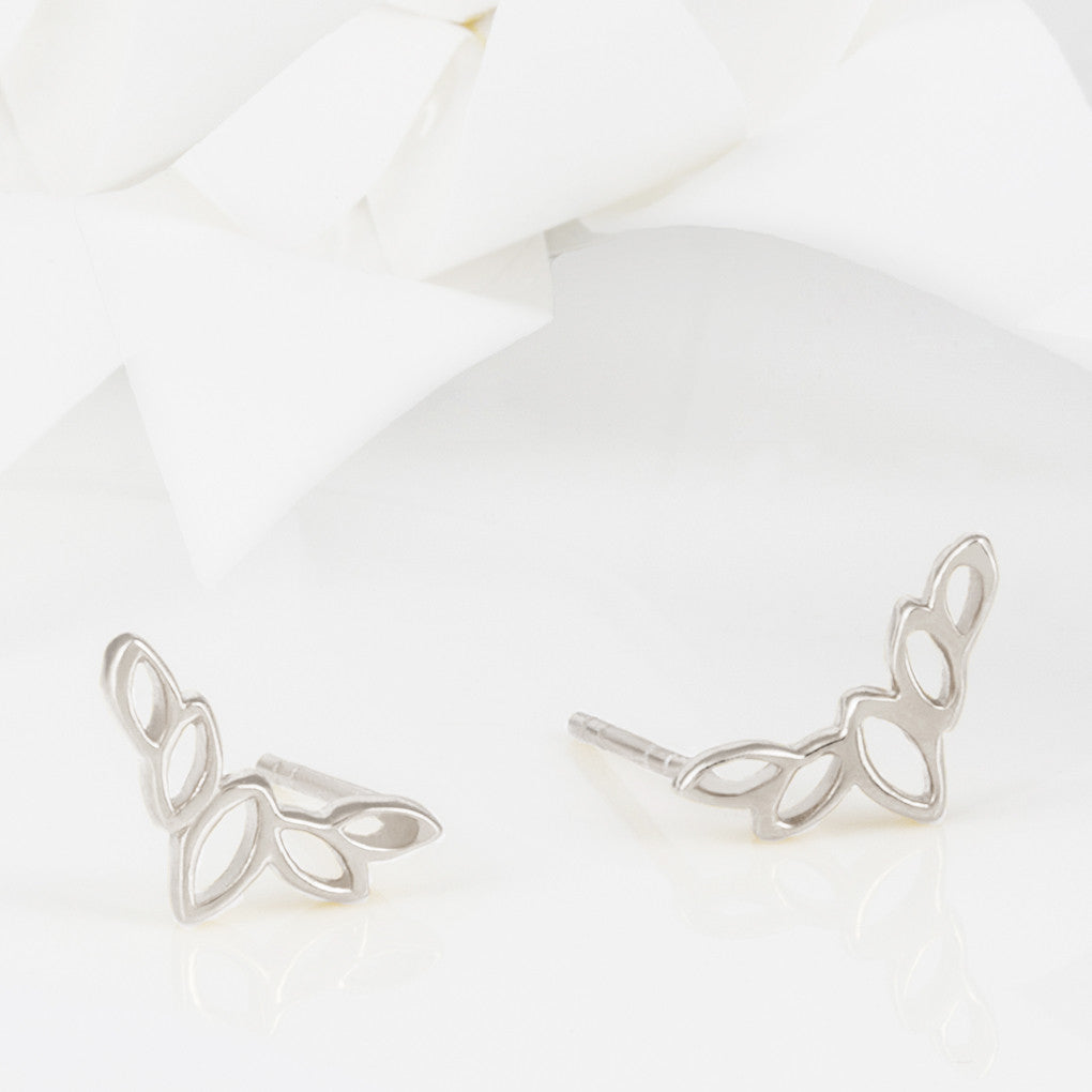 Flor Silver Olive Leaf Stud Earrings