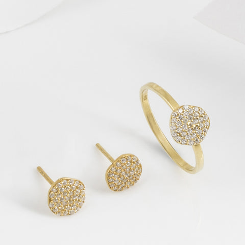 Cielo Gold and White Topaz Ring with Earring Set