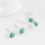 Azul Silver and Turquoise Stud Earrings & Stacking Ring Set