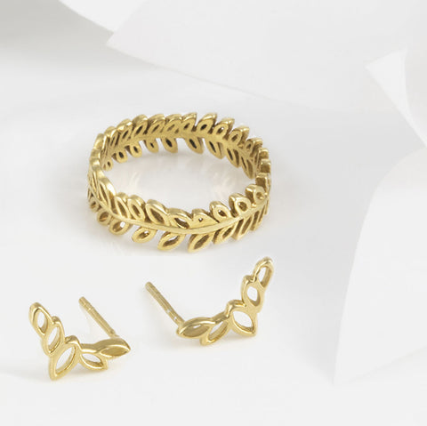 Flor Gold Olive Leaf Ring and Earring Set
