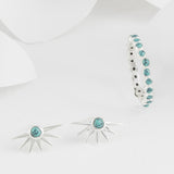 Estrella Turquoise and Silver Stacking Ring with Star Stud Earrings Set