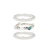 Plata Silver and Turquoise Stacking Ring Set