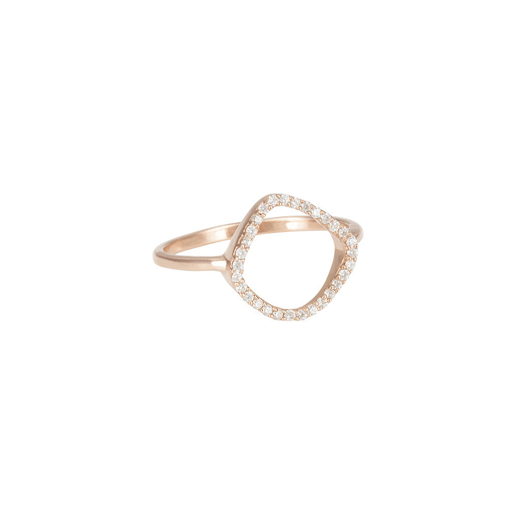 Aro Infinity White Topaz and Rose Gold Ring