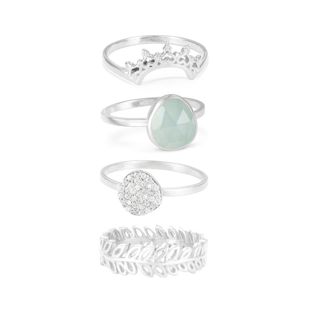 Indo Silver Halo Nesting Ring Set