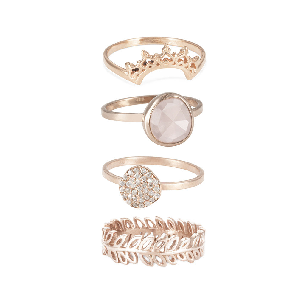 Indo Rose Gold Halo Nesting Ring Set