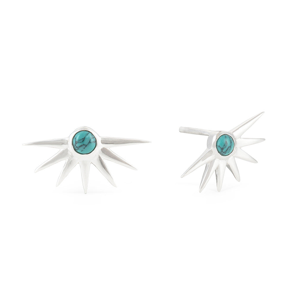 Estrella Turquoise & Silver Stacking Ring & Star Stud Earrings Set