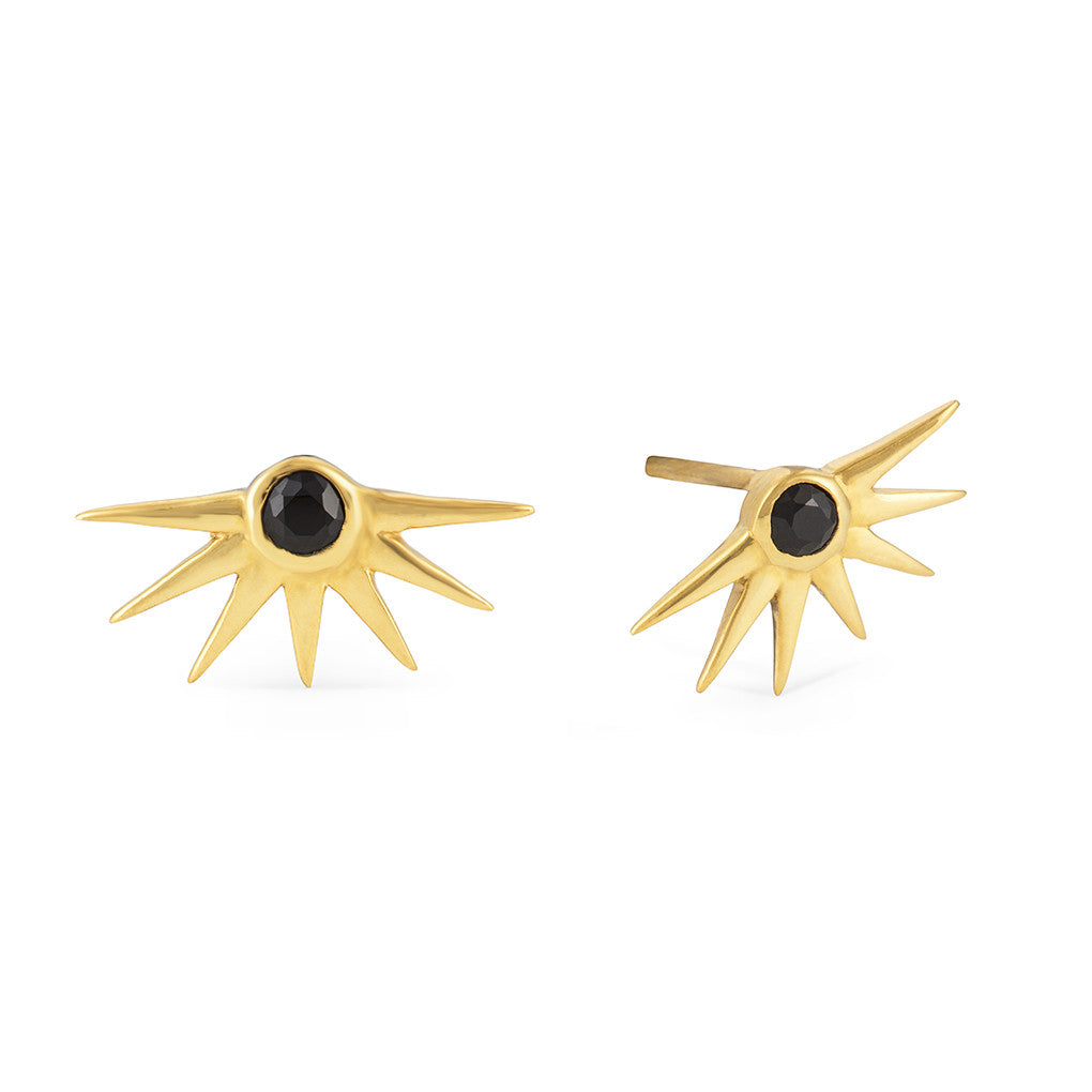 Estrella Gold and Black Onyx with Star and Sparkle Earring and Ring Set